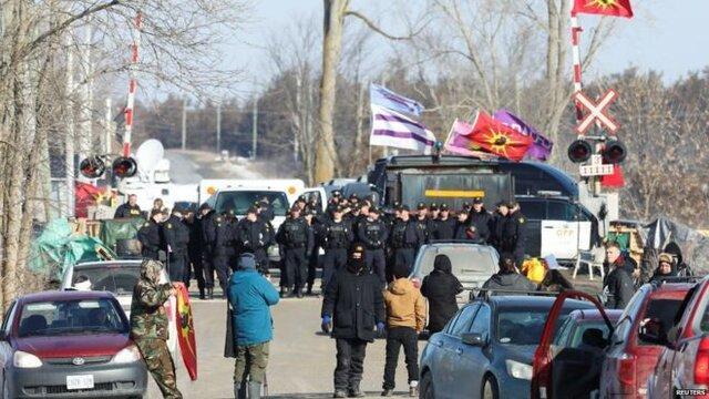 برخورد پلیس کانادا با معترضان اشغال کننده خطوط راه آهن
