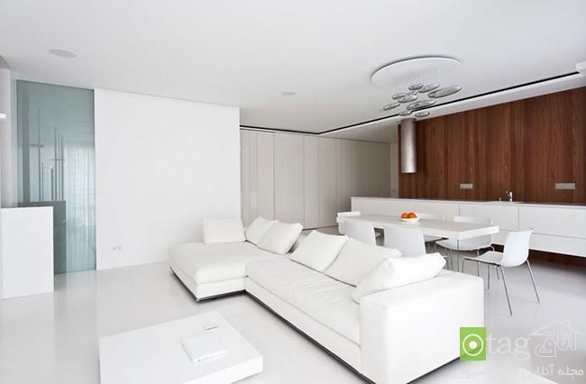 آپارتمان 120 متری با دکوراسیون داخلی سفید و چیدمان مدرن